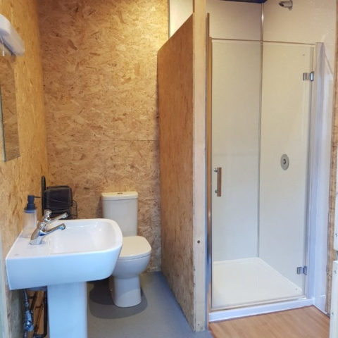 Shower room with sink, toilet and shower