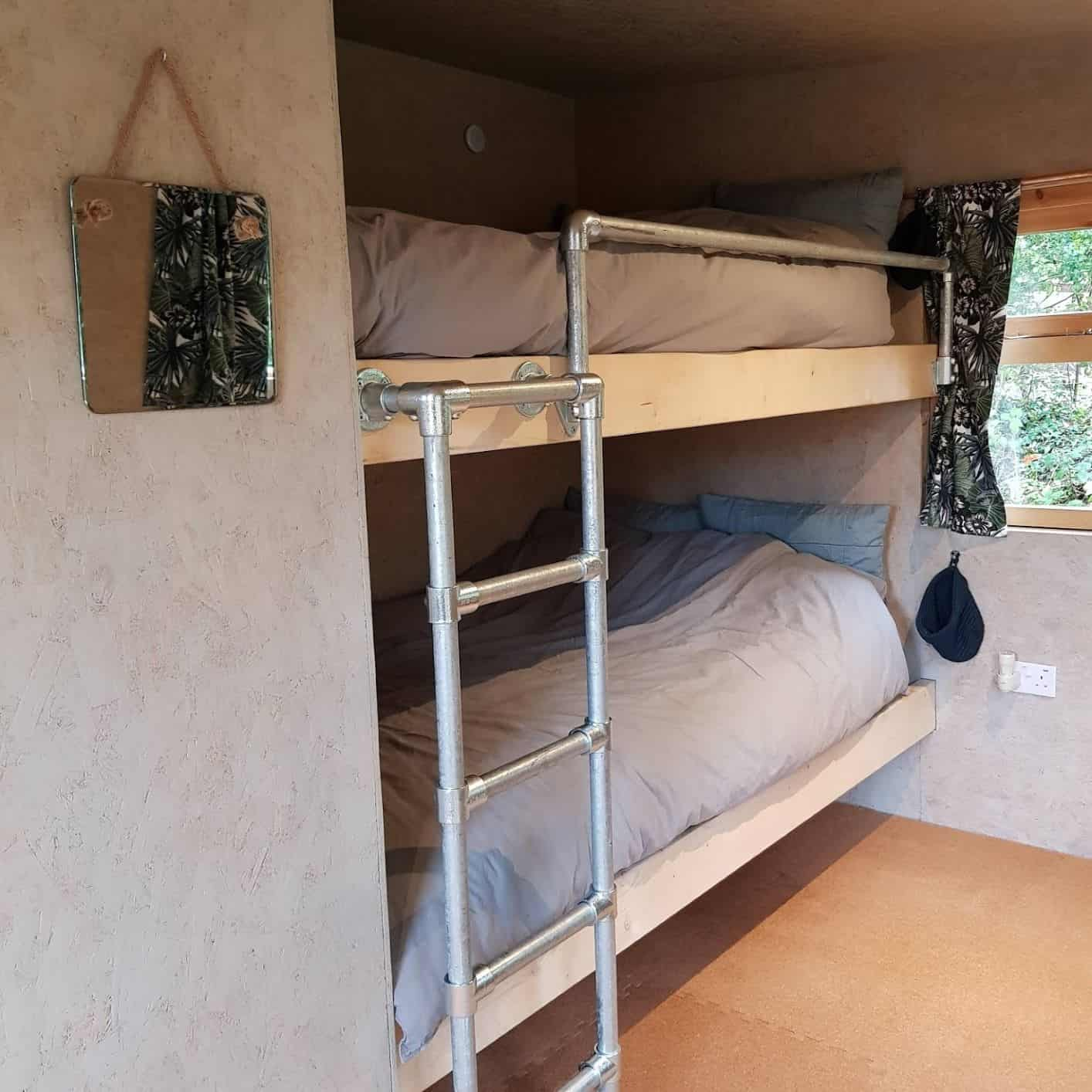 Big (4ft), comfy bunk beds with bedding. Lots of room for one and plenty of room for two.