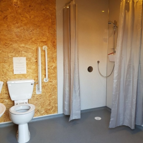 One of three shower rooms at the Roost
