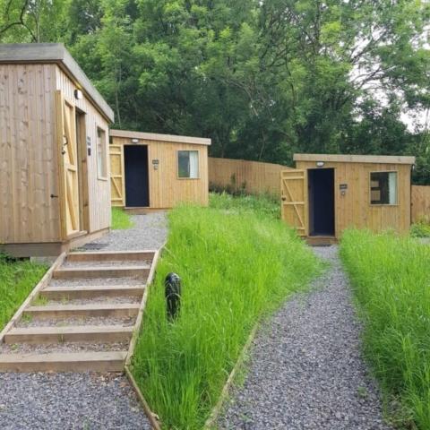 Three glamping cabins