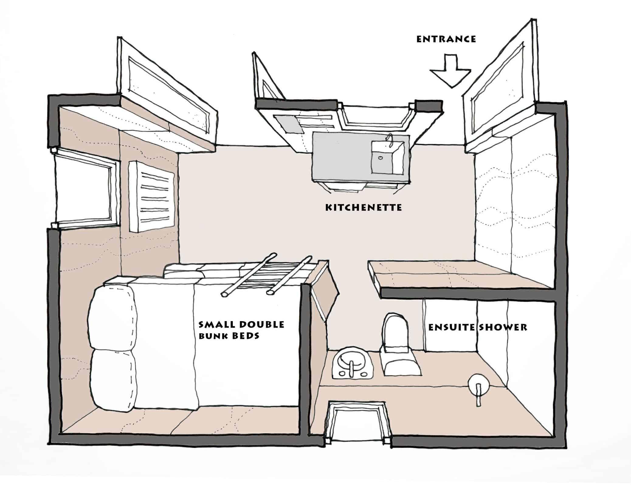Ensuite cabin layout plan