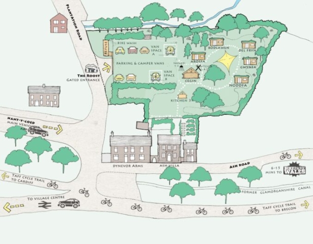 Roost site map showing cabins and way to bikepark wales